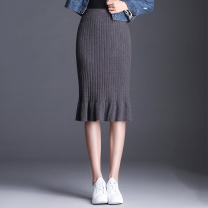 skirt Autumn of 2019 One size fits all (elastic waist 1'9-2'5) Black, gray, caramel Mid length dress Versatile High waist skirt Solid color XW-1700-1 knitting Chen Biao
