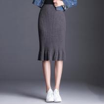 skirt Autumn of 2019 One size fits all (elastic waist 1'9-2'5) Black, gray, caramel Mid length dress Versatile High waist skirt Solid color XW-1700-1 knitting Chen Biao