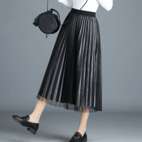 skirt Winter 2017 Average size (suitable for 90-145 kg) Black, grey, champagne, apricot, black + champagne, black + grey commute High waist Pleated skirt Solid color Type A 25-29 years old SLS5915 velvet Chen Biao other Pleating