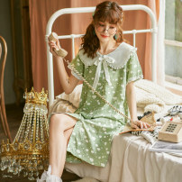 Nightdress Ji Yi Green, blue 160(M),165(L) Sweet Short sleeve pajamas Middle-skirt summer Cartoon animation youth Crew neck cotton printing More than 95% Woven cotton 240g