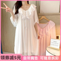 Nightdress Ji Yi White, light pink 155(S),160(M),165(L),170(XL) Sweet Middle sleeve pajamas Middle-skirt summer Solid color youth Crew neck viscose  lace More than 95% Modal fabric JY283 200g and below