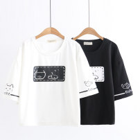 T-shirt White, black Average size Summer of 2019 elbow sleeve Crew neck easy Regular routine Sweet cotton 51% (inclusive) - 70% (inclusive) 18-24 years old youth Cartoon, cartoon, animal pattern RX fish tank cat t printing solar system
