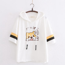 T-shirt White, black Average size Summer 2020 Short sleeve Hood easy Regular routine Sweet cotton 31% (inclusive) - 50% (inclusive) 18-24 years old youth Animal design Other / other RX Chaigou t Embroidery solar system