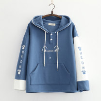 Sweater / sweater Winter 2020 Navy, pink Average size Long sleeves routine Socket singleton  routine Hood easy Sweet routine letter 18-24 years old 51% (inclusive) - 70% (inclusive) cotton Meow cat ear Plush sweater printing cotton Cotton liner college