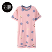 Nightdress Finthen  Pink blue white 160/M 165/L 170/XL girl Short sleeve Leisure home Middle-skirt summer Cartoon animation youth Crew neck cotton printing More than 95% pure cotton X98221863 200g and below Summer 2021 Cotton 100% Same model in shopping mall (sold online and offline) Cotton 100%