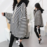 Sweater / sweater Canfangli Hood No detachable cap Korean version routine Long sleeves stripe Cotton liner Pure cotton (95% and above)