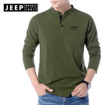 T-shirt Business gentleman routine M,L,XL,XXL,XXXL Jeep / Jeep Long sleeves Crew neck easy Other leisure autumn Cotton 95% polyurethane elastic fiber (spandex) 5% youth routine American leisure other 2020 Solid color Embroidery cotton Brand logo No iron treatment International brands More than 95%