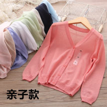 Plain coat Other / other female Mom m mom l 90cm 100cm 110cm 120cm 130cm 140cm 150cm 160cm Mint green west red white purple Khaki Navy Pink Sky Blue summer Versatile Single breasted No model Thin money nothing Solid color cotton V-neck