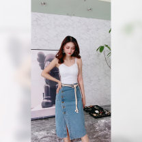 skirt Spring 2021 S Picture color Mid length dress commute A-line skirt Solid color Type A 25-29 years old other