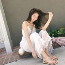 Dress Summer of 2018 white S,M,L,XL Mid length dress singleton  Sleeveless V-neck Solid color Socket Type H