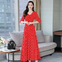 Dress Summer 2020 White, red, black M,L,XL,2XL,3XL,4XL longuette singleton  Short sleeve Lotus leaf collar middle-waisted Dot Socket Big swing Lotus leaf sleeve 30-34 years old Type A new pattern 31% (inclusive) - 50% (inclusive) Chiffon polyester fiber