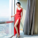 Dress Spring 2021 White, black, red S,M,L,XL,2XL longuette singleton  Sleeveless commute V-neck High waist Solid color zipper One pace skirt routine camisole 25-29 years old Type X Song Xuefu Simplicity Open back, stitching, zipper More than 95% other other