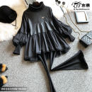 shirt black M,L,XL Winter of 2019 other 31% (inclusive) - 50% (inclusive) Long sleeves commute Regular stand collar Socket bishop sleeve Solid color Straight cylinder Korean version Stitching, lace, agaric, leather u Mercerized cotton