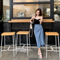 skirt Summer 2020 S, M Apricot, blue Mid length dress Retro High waist skirt Solid color Type H 25-29 years old Other / other