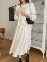 Dress Spring 2021 white Average size longuette singleton  Long sleeves commute Crew neck Loose waist Solid color Socket puff sleeve 18-24 years old Type H Korean version