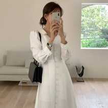 Dress Spring 2021 White, Navy S,M,L Mid length dress singleton  Long sleeves commute High waist Solid color Single breasted 18-24 years old Type H Korean version