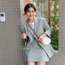suit Autumn 2020 Off white coat, bean green coat, off white skirt, bean green skirt S, M Long sleeves routine easy tailored collar Single breasted Versatile Solid color 25-29 years old 96% and above