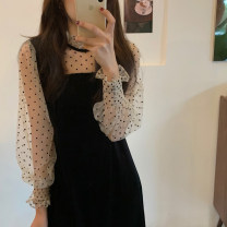 Dress Winter 2020 black Average size Mid length dress singleton  Long sleeves commute Half high collar High waist Dot Socket puff sleeve 18-24 years old Type H Korean version Splicing