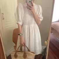 Dress Summer 2021 White, black, brown Average size Short skirt singleton  Short sleeve commute Crew neck Loose waist Solid color Socket puff sleeve 18-24 years old Type H Korean version
