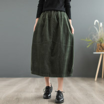 skirt Spring 2021 Average size Dark green, khaki, pink Mid length dress commute High waist Flower bud skirt Solid color Type O 81% (inclusive) - 90% (inclusive) corduroy cotton Pockets, stitching literature