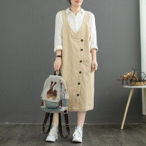 Dress Autumn 2020 Black, Auburn, beige, alizarin Average size Mid length dress singleton  Sleeveless commute V-neck Elastic waist Solid color Socket other other straps Type H literature Pockets, stitching, fraying, buttons 81% (inclusive) - 90% (inclusive) corduroy cotton