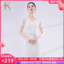 skirt Summer of 2019 S M L XL 2XL white Mid length dress commute Natural waist 30-34 years old 91% (inclusive) - 95% (inclusive) Lace Kuotai nylon Simplicity Polyamide fiber (nylon) 92.2% cotton 7.8% Same model in shopping mall (sold online and offline)
