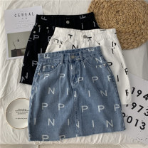 skirt Autumn 2020 S,M,L,XL White, black, blue Short skirt Versatile High waist Denim skirt letter Type A 18-24 years old 51% (inclusive) - 70% (inclusive) Denim Other / other other Pocket, button, print