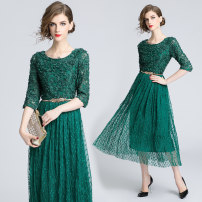 Dress Spring 2020 Green (three dimensional zipper with metal belt) S,M,L,XL,2XL longuette singleton  three quarter sleeve commute Crew neck middle-waisted Solid color zipper Princess Dress Petal sleeve Others 25-29 years old Type A
