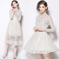 Dress Autumn of 2018 Lace dress + mesh skirt S,M,L,XL,2XL Mid length dress Two piece set Long sleeves commute middle-waisted 81% (inclusive) - 90% (inclusive)