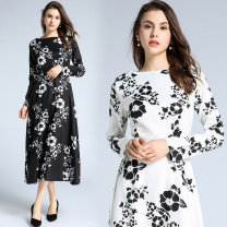 Dress Spring 2020 White (lined zipper on the side of the collar), black (lined zipper on the side of the collar) S,M,L,XL,2XL longuette singleton  Long sleeves commute One word collar middle-waisted Decor Socket Cake skirt routine Others 25-29 years old Type A 81% (inclusive) - 90% (inclusive) other