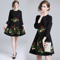 Dress Autumn of 2019 Black (heavy industry flower embroidery with inner zipper) M,L,XL,2XL Middle-skirt singleton  three quarter sleeve street Crew neck middle-waisted Big flower Socket A-line skirt routine Others 25-29 years old Type A Embroidery 81% (inclusive) - 90% (inclusive) brocade cotton