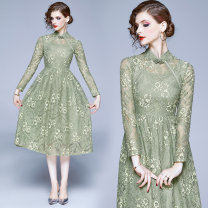 Dress Spring 2020 Military green (plate button) decorative hollow lace back zipper S,M,L,XL,2XL Mid length dress singleton  Long sleeves stand collar middle-waisted A-line skirt routine Lace