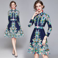Dress Autumn 2020 Dark blue (positioning) color flower printing side zipper M,L,XL,2XL Middle-skirt Long sleeves Polo collar middle-waisted zipper A-line skirt routine Cellulose acetate