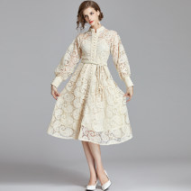 Dress Spring 2020 S,M,L,XL,2XL longuette singleton  Long sleeves commute Half open collar middle-waisted Solid color Single breasted Big swing bishop sleeve Others 25-29 years old Type X court 31% (inclusive) - 50% (inclusive) Lace nylon