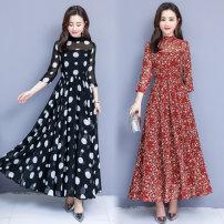 Dress Spring 2020 Black (X-ray bra stand back zipper), red (X-ray bra stand back zipper) S,M,L,XL,2XL,3XL longuette Long sleeves commute stand collar Decor Korean version Chiffon