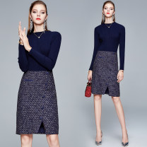 Dress Winter 2020 dark blue S,M,L,XL,2XL Middle-skirt Fake two pieces Long sleeves street stand collar middle-waisted other Socket One pace skirt routine Others 25-29 years old Type H Splicing 31% (inclusive) - 50% (inclusive) Europe and America