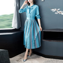 Dress Summer 2020 Blue (single breasted cardigan) pleated hem bow M,L,XL,2XL longuette Long sleeves middle-waisted Decor Pleated skirt routine