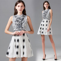 Dress Summer 2020 White (high quality version of heavy industry embroidery) S,M,L,XL Middle-skirt Sleeveless stand collar middle-waisted Pleated skirt