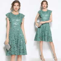 Dress Summer of 2018 Bean green, XXL weight 0.37kg, full size in stock S,M,L,XL,2XL Middle-skirt singleton  Sleeveless street Crew neck middle-waisted Solid color Pleated skirt Type A Fungus, lace Lace Europe and America