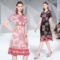 Dress Summer 2020 Pink (bow side zipper hem mesh), black (bow side zipper hem mesh) S,M,L,XL,2XL Mid length dress singleton  Short sleeve commute V-neck High waist routine Others Type A