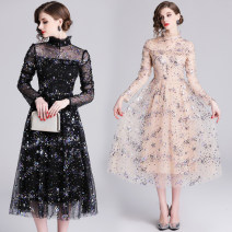 Dress Spring of 2019 Apricot (heavy colored sequins with vertical collar and Auricularia auricula), black (heavy colored sequins with vertical collar and Auricularia auricula) S,M,L,XL,2XL longuette Long sleeves street stand collar High waist zipper Big swing routine 25-29 years old Sequins, zippers