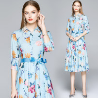 Dress Spring 2020 The side zipper is printed with light yellow background, and the side zipper is printed with light blue background M (for tie), l (for tie), XL (for tie), XXL (for tie) longuette singleton  three quarter sleeve street other middle-waisted Decor zipper A-line skirt routine Others
