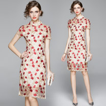 Dress Spring 2021 Double side split back zipper with heavy mesh embroidery S (soft inner liner of chest X-ray), m (soft inner liner of chest X-ray), l (soft inner liner of chest X-ray), XL (soft inner liner of chest X-ray) Middle-skirt singleton  Short sleeve street stand collar middle-waisted Decor
