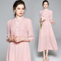 Dress Summer 2020 Pink (chest 20 fold elastic waist bubble sleeve) M (lined pearl Chiffon HEM), l (lined pearl Chiffon HEM), XL (lined pearl Chiffon HEM), XXL (lined pearl Chiffon HEM) longuette other elbow sleeve street V-neck Elastic waist Socket Big swing routine Others 25-29 years old Type A