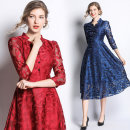 Dress Spring of 2019 Blue, red S,M,L,XL,2XL Mid length dress singleton  three quarter sleeve street middle-waisted Single breasted Others Type A Lace Europe and America
