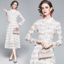 Dress Autumn 2020 Apricot S,M,L,XL,2XL longuette singleton  Long sleeves commute stand collar High waist Solid color Single breasted Big swing routine Type A Lace Lace