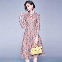 Dress Spring 2020 Leaf print lace back zipper bow tie S,M,L,XL,2XL Mid length dress singleton  Long sleeves street middle-waisted Decor zipper Big swing routine Others Type A Lace Europe and America