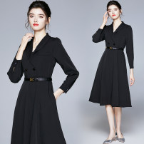 Dress Autumn 2020 black S,M,L,XL,XXL Miniskirt singleton  Long sleeves commute tailored collar High waist Solid color Socket Big swing shirt sleeve Others 25-29 years old Type A Ol style brocade polyester fiber