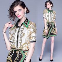 Fashion suit Summer of 2019 M,L,XL,XXL Decor (shirt + skirt)