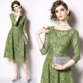 Dress Summer 2020 Light green (Floral hook print lace side zipper) S,M,L,XL,2XL,3XL Mid length dress singleton  three quarter sleeve street Crew neck middle-waisted zipper Big swing routine Others Type A Lace Europe and America